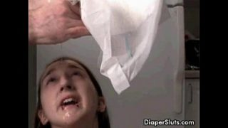 y. slut drinking her piss from diaper